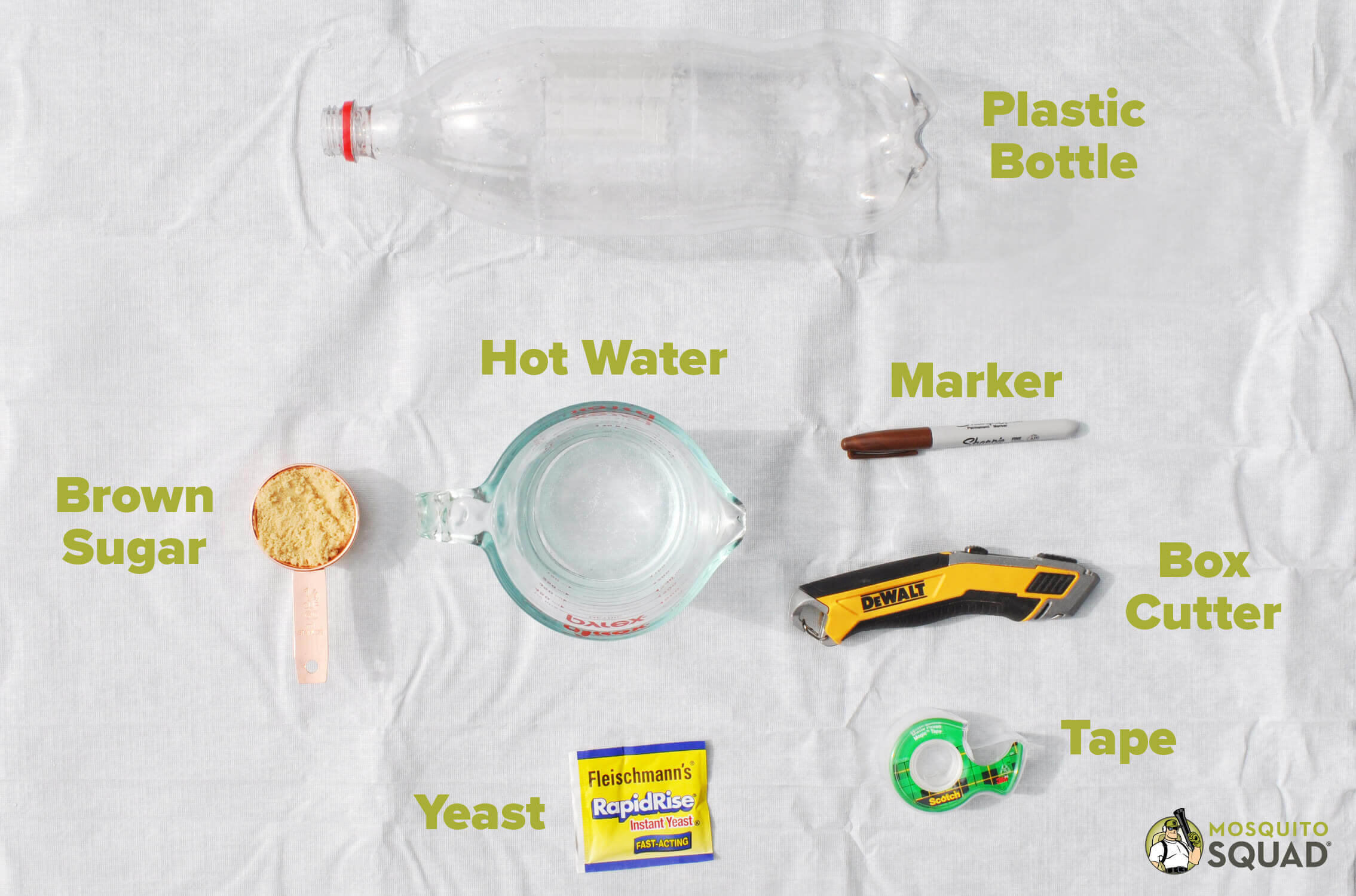 a plastic bottle, brown sugar, active yeast, box cutters, and a marker for a DIY mosquito trap