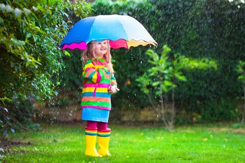 a image of a girl with a umbrella in the rain