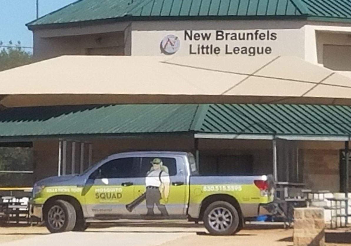 Squad truck in front of New Braunfels Little League.