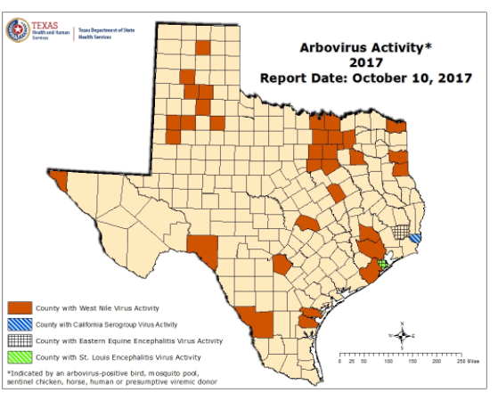 Map of West Nile in Texas