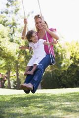 mom and daughter on swing