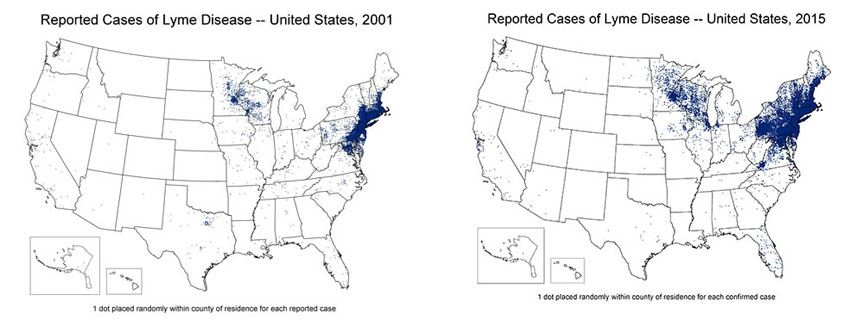 Lyme disease in the US in 2001 and 2015.