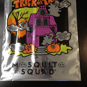 A Mosquito Squad-branded Halloween candy bag