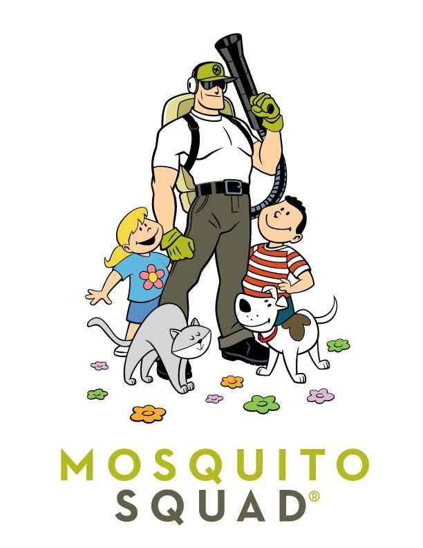 Mosquito Squad illustration with kids and a dog.