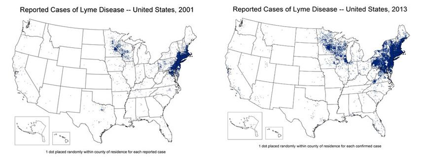 Maps showing spread of Lyme disease between 2001 and 2013